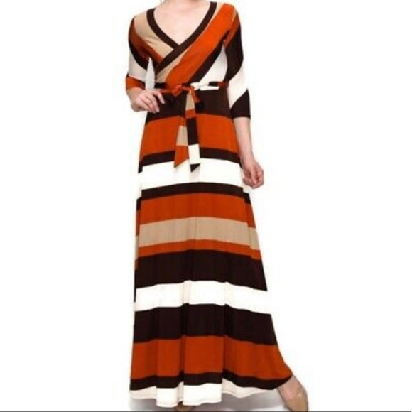 Love in Dresses & Skirts - NEW striped maxi dress in rust, brown, and tan